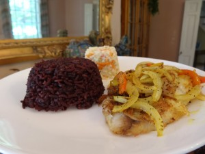 Lemon Herbed Fish with Purple Rice and Coleslaw