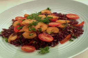 Cajun Spiced Shrimp over Purple Rice