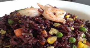 Shrimp and Egg Fried Purple Rice